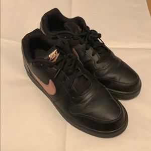 Nike black leather and rose gold detail shoes